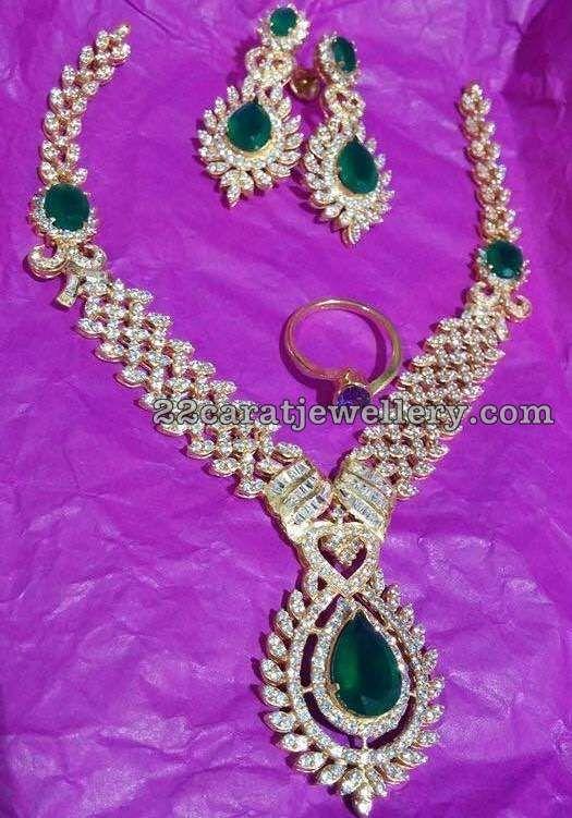 Diamond Emerald Set and Ring - Jewellery Designs
