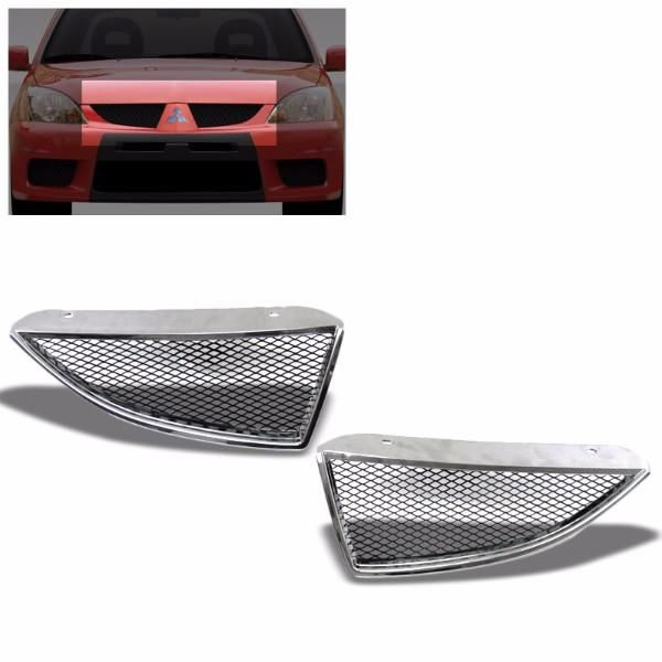Front Chrome Bumper Hood Grill Grille for 04-05 Lancer ES LS OZ Rally Ralliart