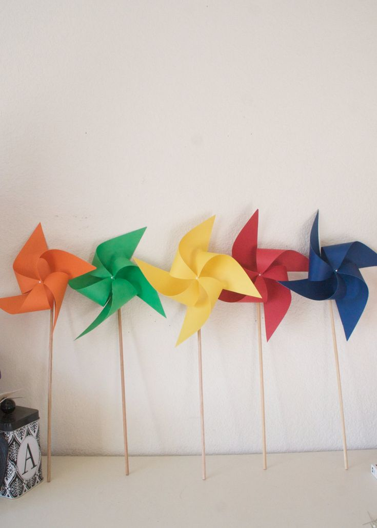 Rainbow Wedding Birthday Decoration Carnival Circus Decor Primary color Party - 6 large Pinwheels Primary colors (Custom orders welcomed) - pinned by pin4etsy.com