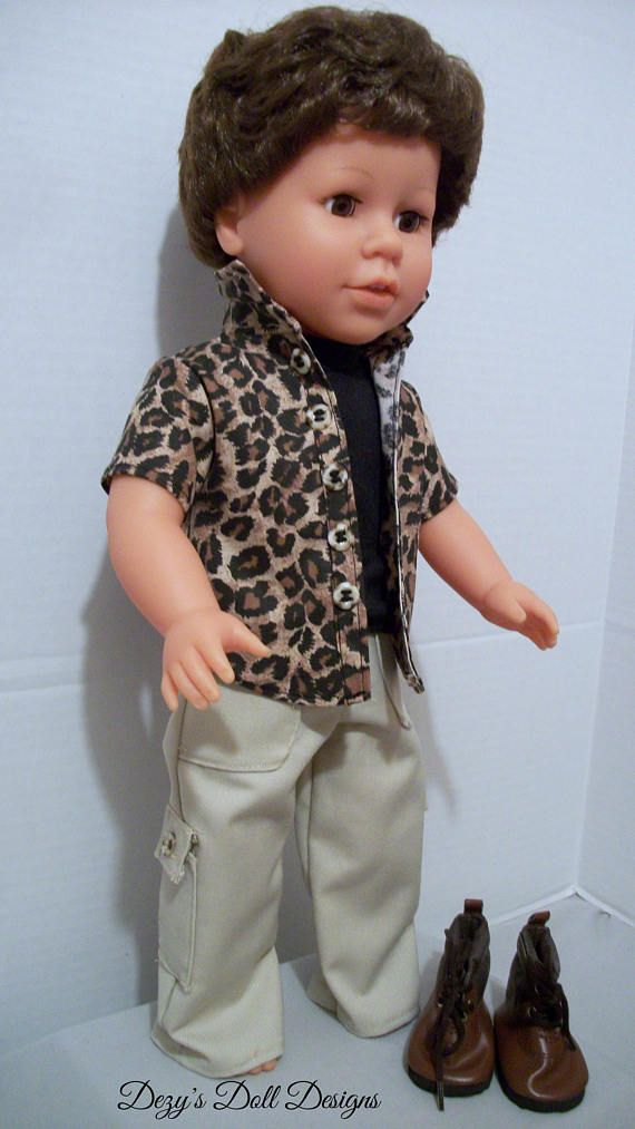Cheetah outfit was created for American Boy Dolls and other 18 inch dolls such as American Girl Dolls and My Life Dolls. Set can be worn by any 18 inch doll with the same body measurements.  This listing is for 18 inch boy doll clothes that fit 18 inch boy dolls.  The complete set