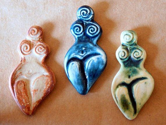 3 Handmade Ceramic Mosaic Tiles  Stoneware Goddesses by beadfreaky, $14.00