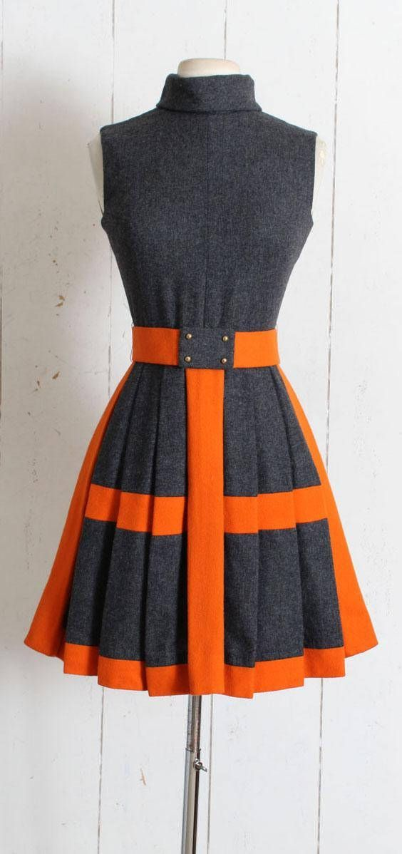 """➳ Vintage 1960s Dress Darling burnt orange and charcoal gray wool dress. Pleated skirt, cowl neck, back zipper, detachable hook/snap close belt. By 18-21 shops. Excellent condition - no flaws. Fits like XS/S. Length 35.5"""" Bodice 16"""" Bust 34-36"""" Waist 25-26"""" Belt 26 (can be #vintagedresses"""