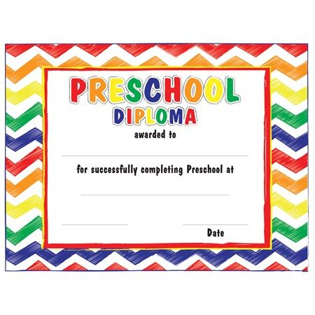 Chevrons Preschool Diplomas - Watch young grads smiles grow when they receive this colorful diploma.