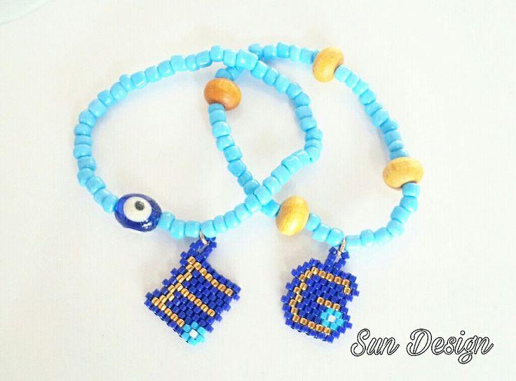 Minikler için nazar bileklik  #miyuki #alphabet #isimlik #beads #boncuk #pattern #kum #baby #fashion #love #harf #nazar #boncuğu