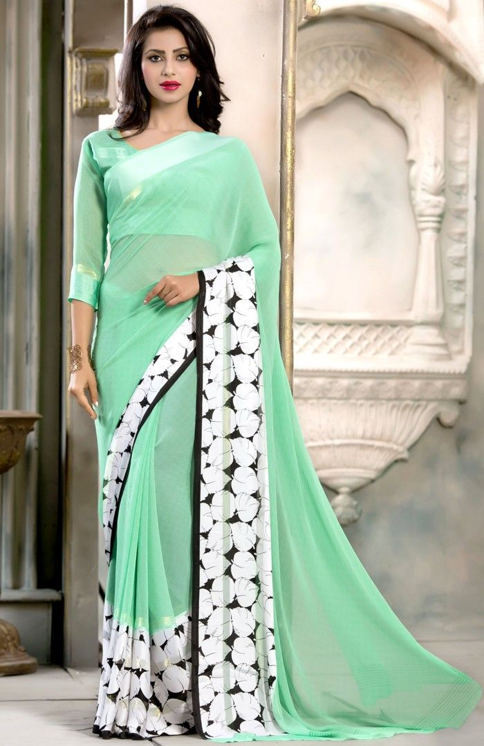 Green #Georgette #Saree with Blouse