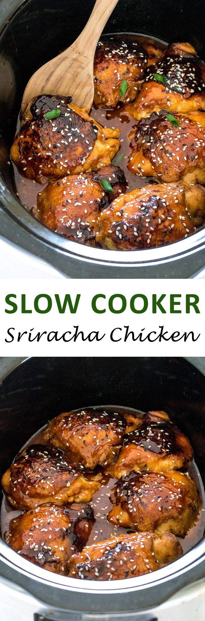 Slow Cooker Honey Sriracha Chicken. Super tender chicken thighs cooked low and slow in a honey garlic sriracha sauce.   chefsavvy.com #recipe #slow #cooker #sriracha #chicken #dinner