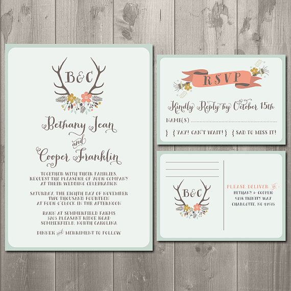 Rustic Antler Wedding Invitation Suite - DIY Printable Wedding Invitation and RSVP Card or Postcard $30.00