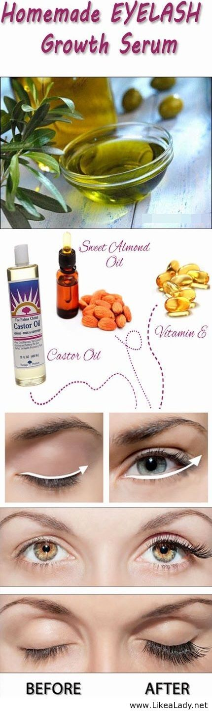 Homemade DIY Eyelash Growth Serum - if this worked for you, please chime in below- obvi being compared to falsies in the picture, not an accurate representation
