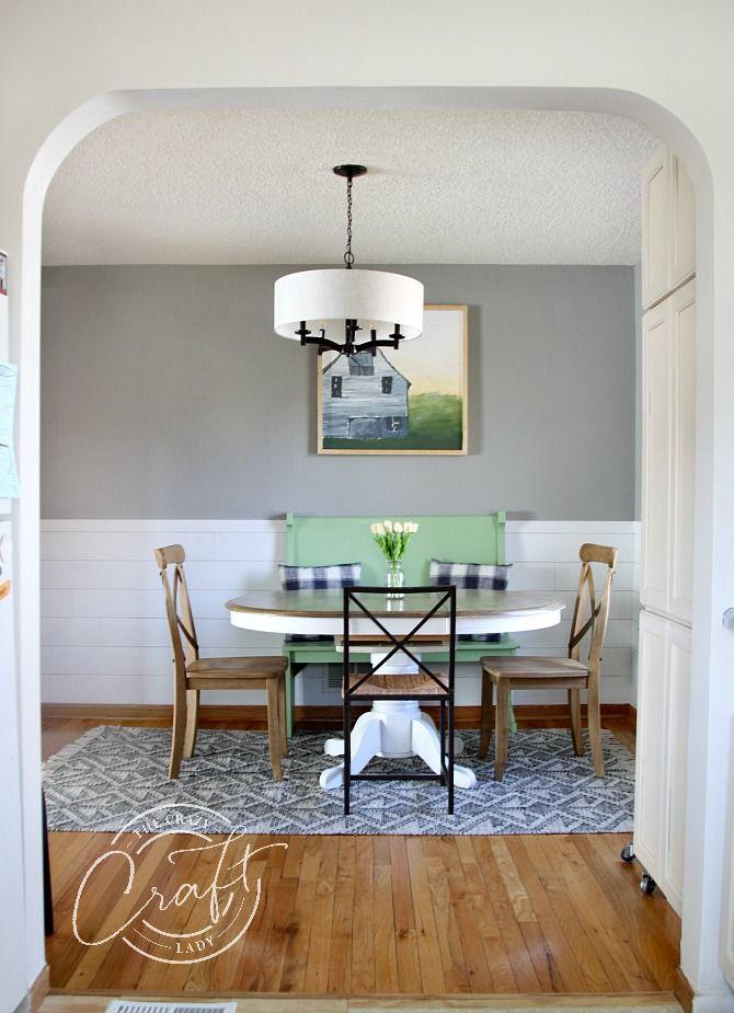 My Faux Shiplap Chair Rail And Farmhouse Dining Room Reveal Farmhouse Dining Room Dining Room Chair Rail Farmhouse Dining