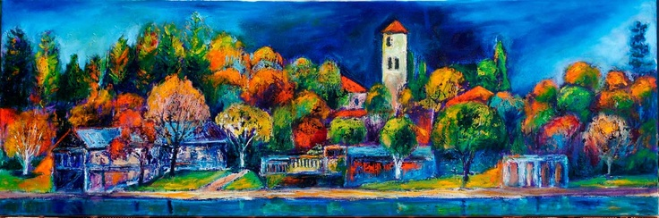 'Tower of light' 122x41 cms oil on canvas by Jeremy Holton.  This is a view of the University of Western Australia from the Swan River with the tower of Winthrop Hall.  $3000 #painting #landscape #perth #australia. jeremyholton.com thailand-painting-holidays.com Visit our art and photography guest house in NE Thailand by Jeremy Holton https://plus.google.com/u/0/104359568476968412848?rel=author