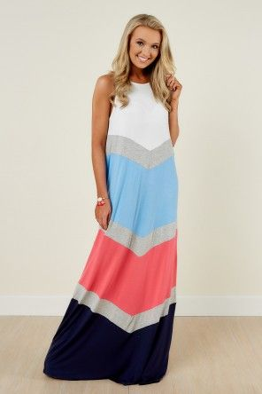 Aura Innocence Is Bliss Pink And Navy Maxi Dress at reddressboutique.com