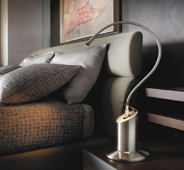 A range of light fittings of metal, for the bedside, with a fiber optic adjustable arm for reading and a flip-up cap for additional diffused light. #Zed #tablelamp by #Lumina