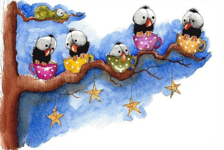 Original watercolor painting whimsical animal chameleon bird crow stars tree cup #IllustrationArt