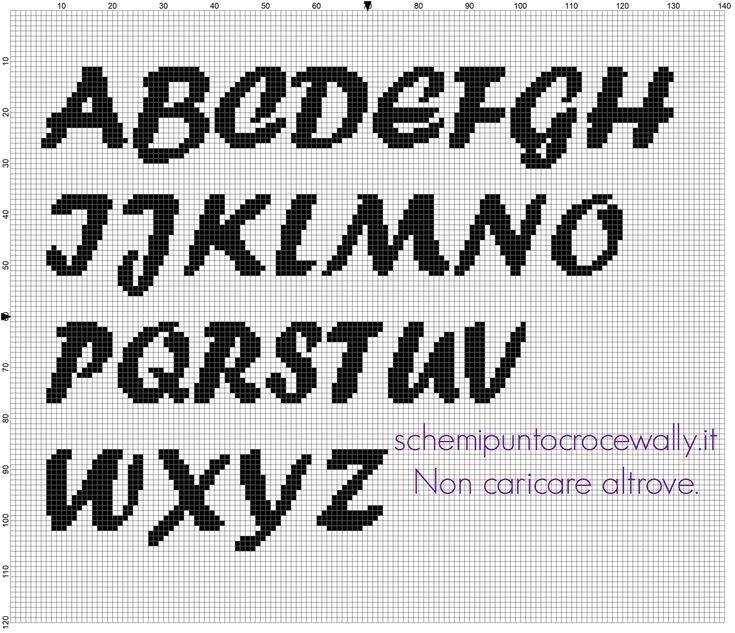 Alfabeto punto croce da ricamare carattere font Forte lettere maiuscole