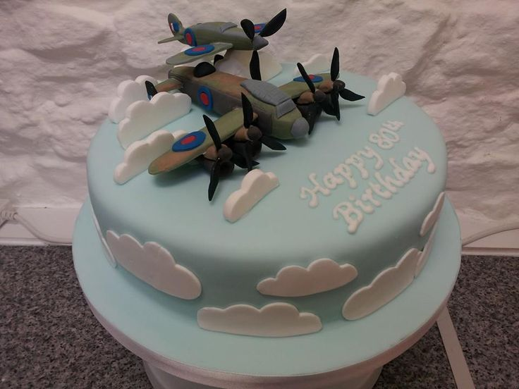Lancaster Bomber and Spitfire birthday cake