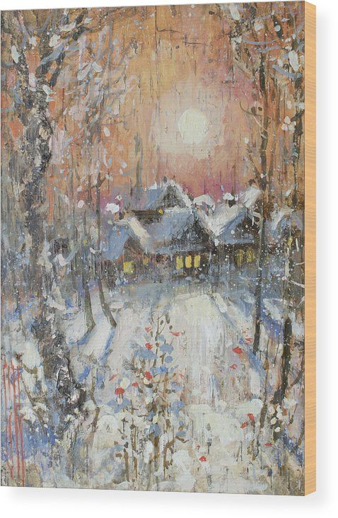 Snowy Village Wood Print by Ilya Kondrashov.  All wood prints are professionally printed, packaged, and shipped within 3 - 4 business days and delivered ready-to-hang on your wall. Choose from multiple sizes and mounting options.