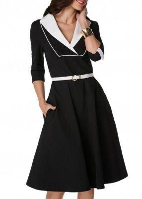 abito maniche 3/4,con cintura,scollo a V ,rifinito in bianco
