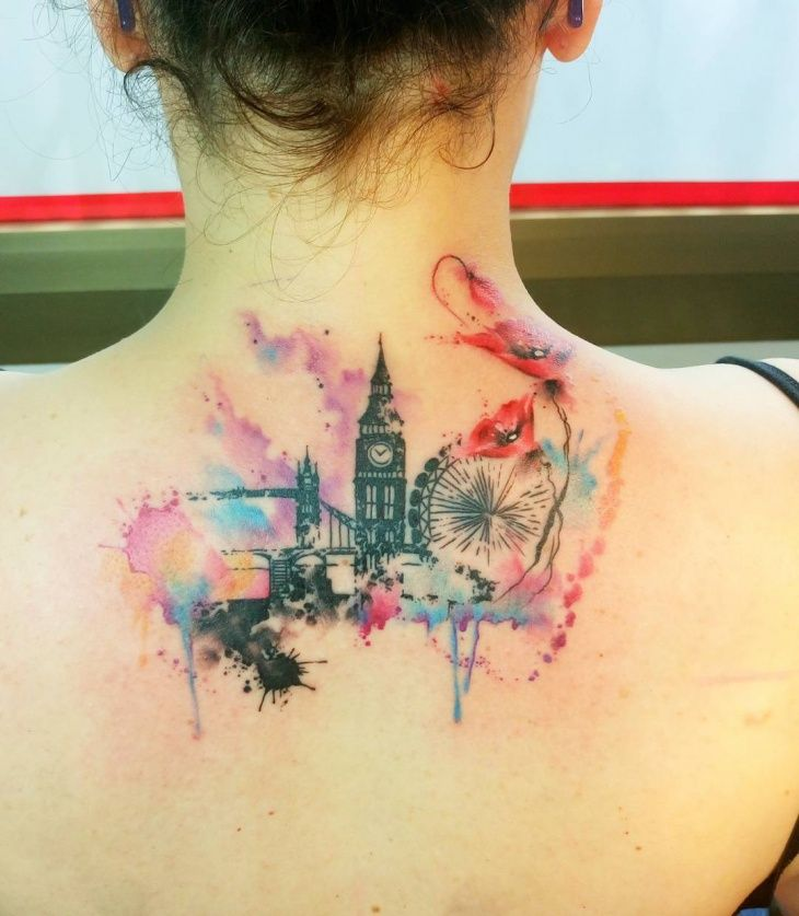 Watercolor Skyline Tattoo different skyline, but I love the tattoo