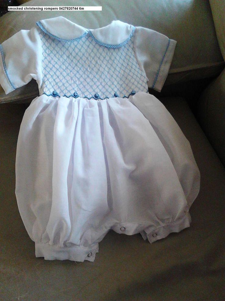 boys cotton smocked christening romper 6M ring 0427820744 for sale $130