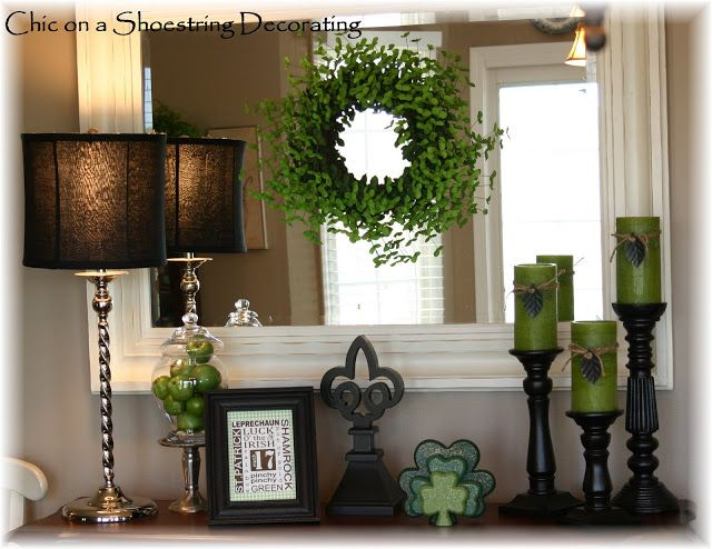 St. Patrick's Day Decor, a Vignette from Chic on a Shoestring. Not over cutesy and still distinctly St. Patty
