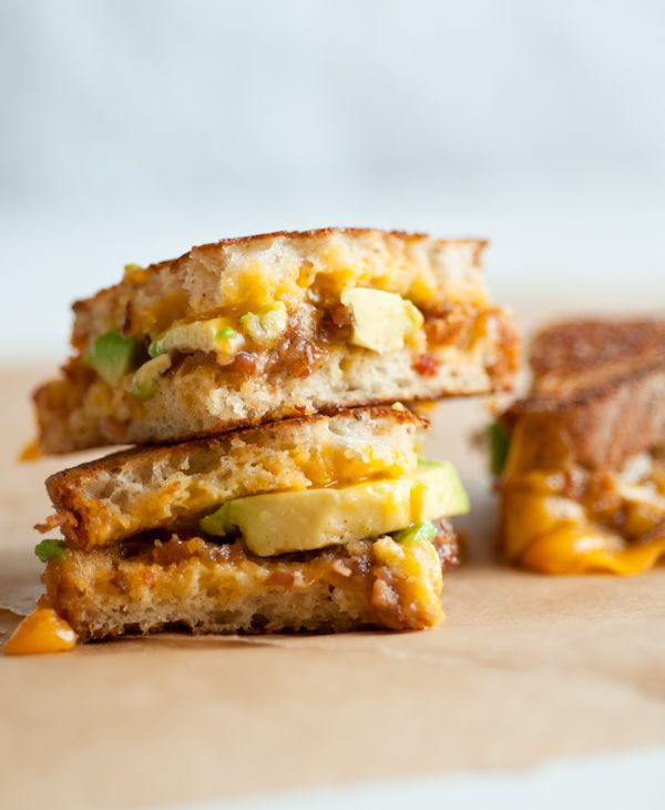 Grilled cheese, avocado and bacon jam sandwiches. | Get in mah belly ...