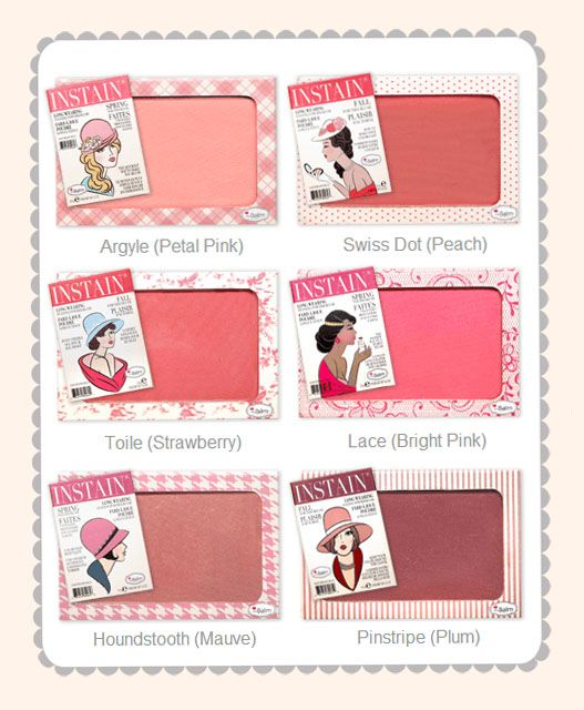 The Balm Instain Blush - These stain your cheeks and stay on ALL DAY! Nice color options, good pigment and blend able.