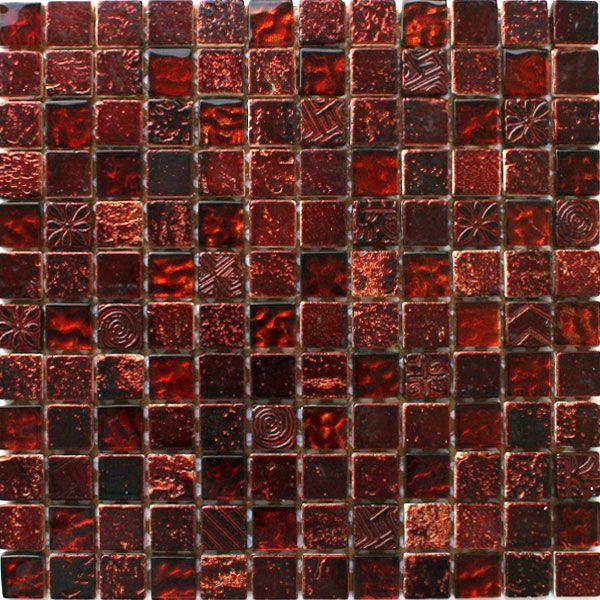 Glas Kalkstein Marmor Mosaik Fliesen Lyon Weinrot
