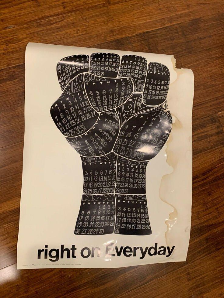 Black Power Fist Civil Rights Calendar Poster 1971 in 2020