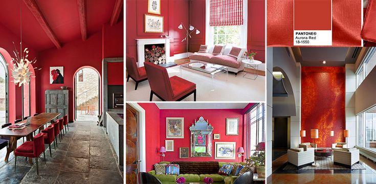 Raccolta di abitazioni con pareti rosse.
