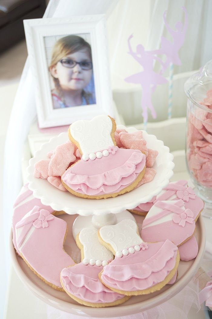 Ballet cookies! Amazing Pink Ballerina Party with Lots of Really cute Ideas via Kara's Party Ideas KarasPartyIdeas.com #balletparty #balletcake #balletpartyideas