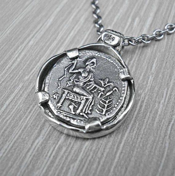 Silver coin necklacesilver coin pendanttwo sided