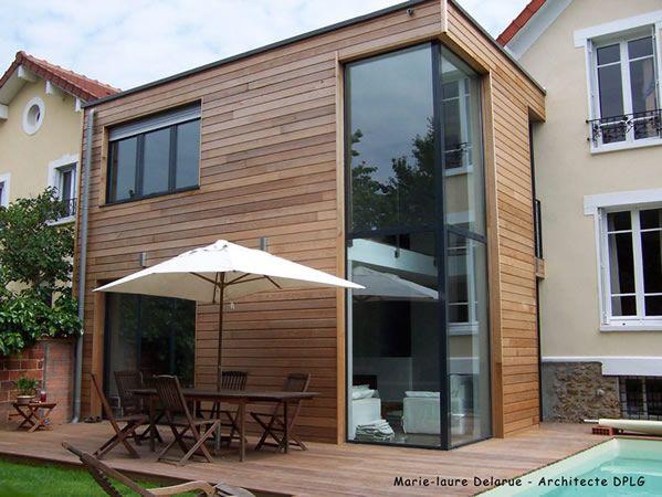 maison extension bois bioclimatique