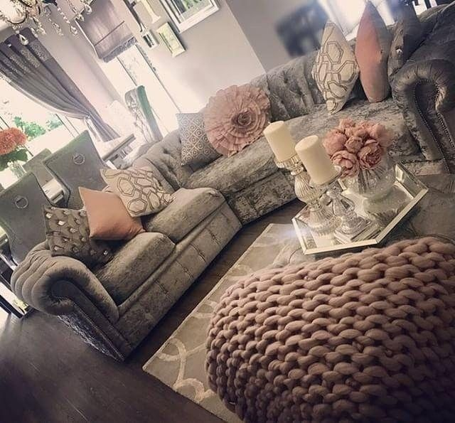 Living Room Sofa Grey Mink Silver Crushed Velvet Interior Design