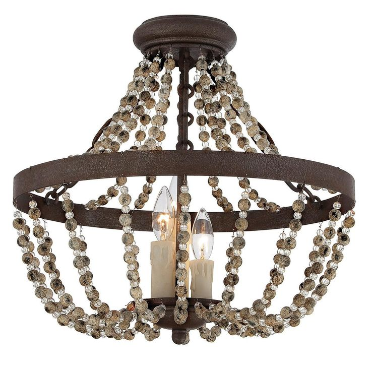 Rustic French Country Convertible Ceiling Light New
