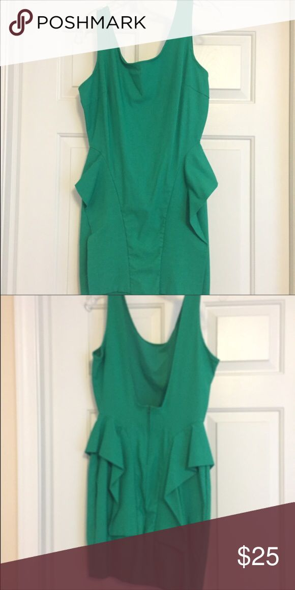 Short Green Dress Short Green Dress with ruffles on the sides & open back... great for going out or any occasion, worn only once Dresses Mini