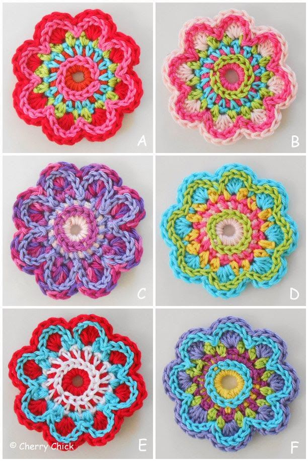 Click photo to enlarge    I've been playing around with some different color variations for the cutest little flower pattern that I rece...