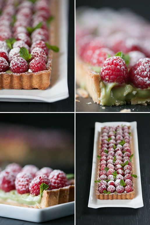 Matcha Tea Raspberry Tart