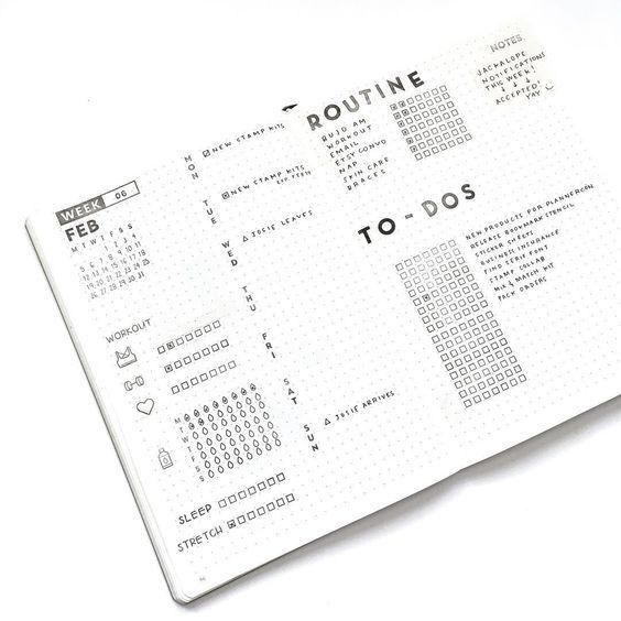 Bullet journal weekly layout, water tracker, sleep tracker