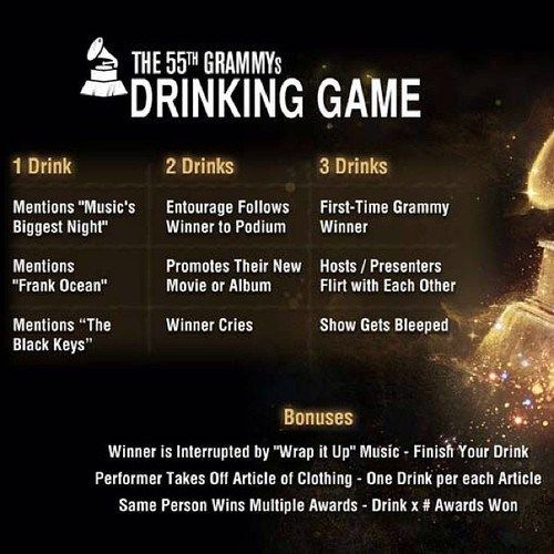 Ladies and Gentlemen, Prepare Your Livers! 2013 GRAMMYS DRINKING GAME!