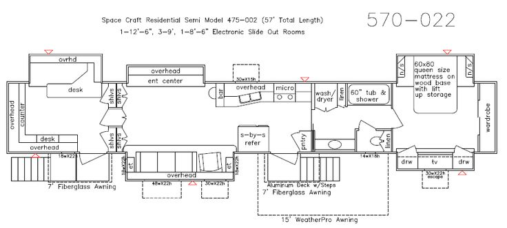 2014 57 Space Craft Semi Trailer Floor Plan Rv