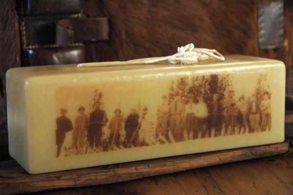 Vintage Winter's Ski Decor Candle - Vintage Ski Club c. 1930's