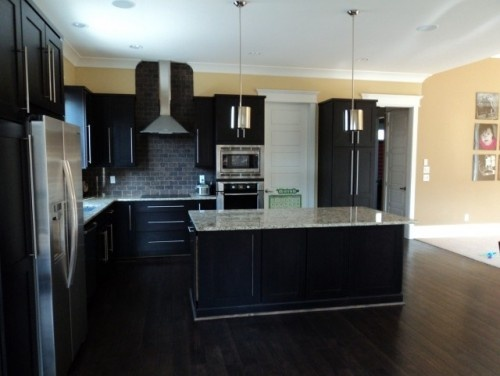 Contemporary Kitchen Espresso Cabinets Dark Floor And