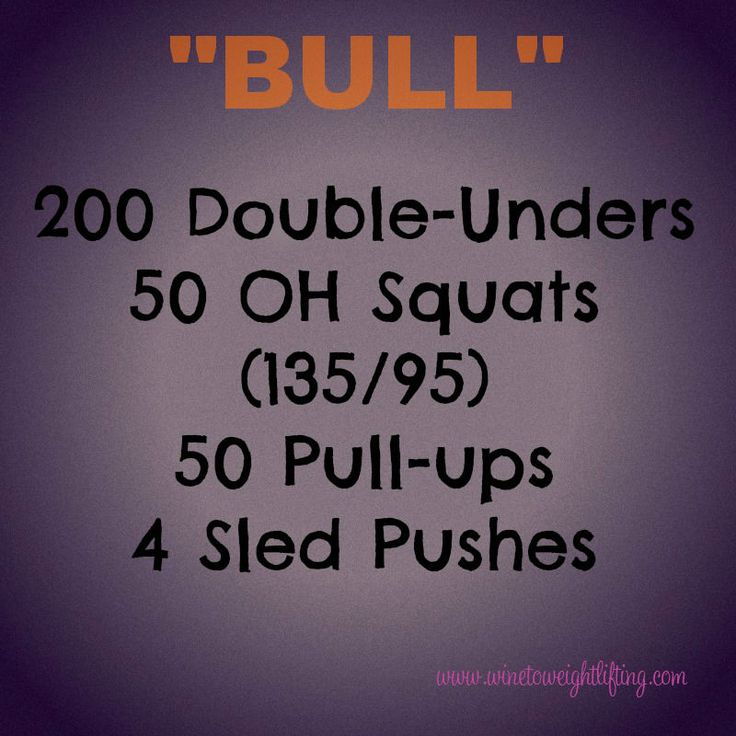 Crossfit WOD: Bull. 200 double-unders, 50 overhead squats, 50 pull-ups, 4 sled pushes