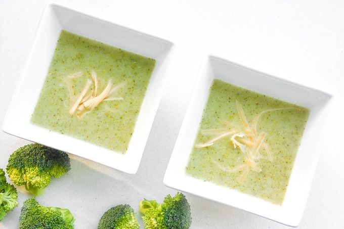 "It's easy to make creamy, thick and flavourful cream of broccoli soup in your own home. Make it ""light"" today without heavy cream!"