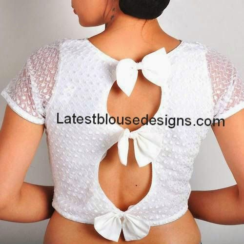 Fancy White Blouse with Bows on the Back | Latest Blouse Designs