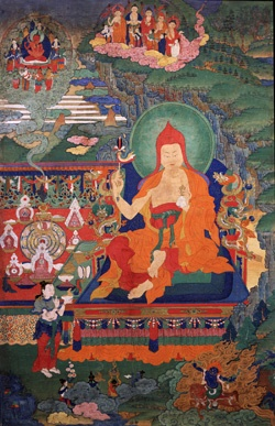 Buddha Shakyamuni (detail); Tibet; 18th century; Pigments on cloth; Rubin Museum of Art