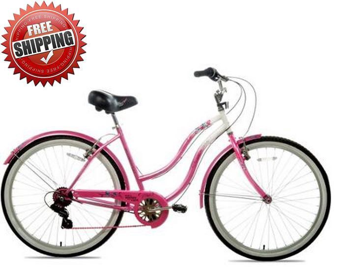 "26"" Womens Cruiser Fitness Bike Bicycle Multi Speed Silver Pink Steel Frame NEW #Unlisted"