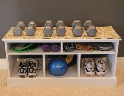 Home gym, for sneakers, few weights and small equipment