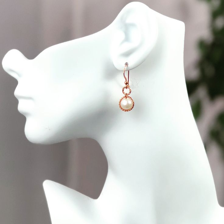 *Simply Jordan  Rose Gold Copper and Large Pearl Earrings w/ Copper Hooks