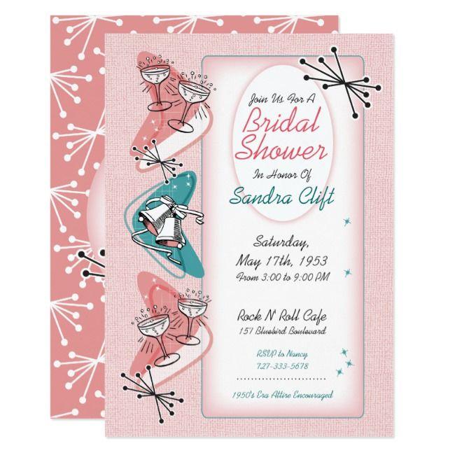 Retro Pin-Up Bridal Shower Invitations Unique Bridal Shower Invitations for Rockabilly Bride Pink Retro Bridal Shower Invites
